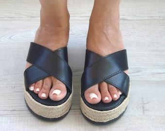 Sandales grecques noir, grecs plateformes, sandales Grecques, Greek cuir Sandle, sandales romain, grec cuir coulisse, Thétis