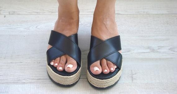 Thetis Greek Sandals Greek Slides Black Sandals Greek Roman Sandle Grecques platforms Sandals Leather Greek Leather YnF6x16p