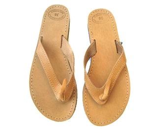 Sandales pour homme, en cuir flip tongs, sandales grecques, sandales en cuir, sandales en cuir grec, sandales en cuir marron, sandales naturel