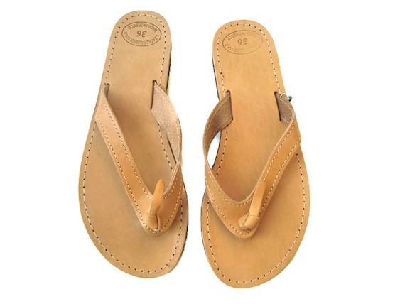 Mens sandals, Leather flip flops, Greek sandals, Leather sandals, Greek leather sandals, Brown leather sandals, Natural sandals, Homer