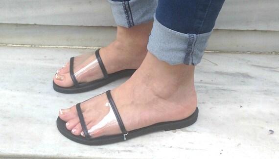 cuir Boho Sandales PVC Grecques chaussures ballerines en Sandales sandales grecques Nike noir cuir cuir en cuir en sandales diapositives sandales en PVC wqP6A