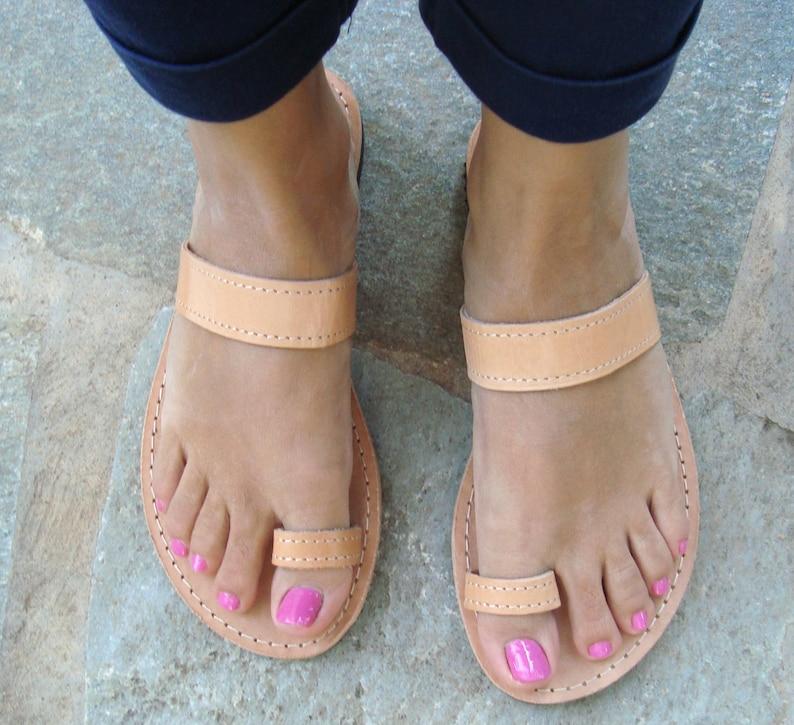 design elegante vendita outlet scarpe eleganti Womens sandali, sandali greci, sandali in pelle, sandali di cuoio greca,  sandali anello, sandali di cuoio marroni, Phaedra
