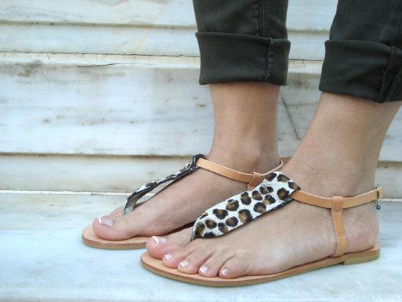 Leather Thong Sandal, Greek Thong Sandals, Animal Print Sandals, Sandales Grecques, Ankle Sandals, Brown Thong Sandals, Eurydike