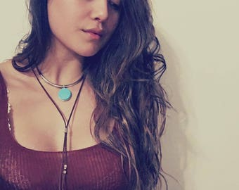 Doble Suede Turquoise Necklace