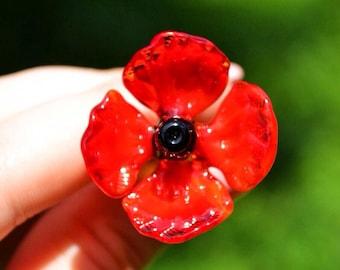 Poppy flowers etsy red glass poppy flower figurine blown flower sculpture art glass flower murano toys tiny small flower miniatures figure toys poppy flowers mightylinksfo