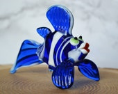 Blue Glass Fish Figurine Animals Glass Blue Fish Sea Miniature Art Toys Collectible Murano Glass Tiny Small Figure Sculpture Gift Statue