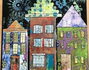 Vibrant Streetscape Canvas Art, Handmade, One of A Kind, Original Wall Art Pieces, Custom Wall Decor, Abstract