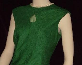 Vintage 50s F.  Richard Frontman Couture Dress Medium Green Linen Key Hole Chest