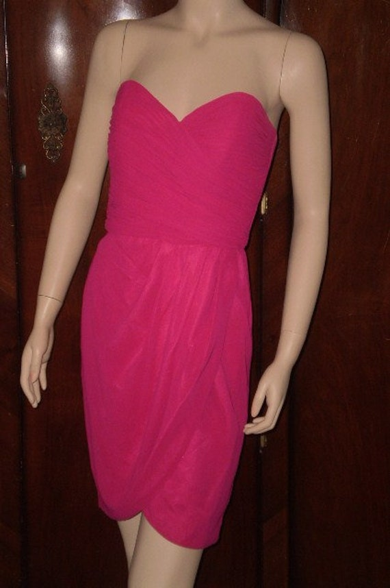Vintage 90s AJ Bari Hot Pink Strapless Mini Dress