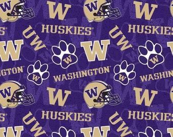 University of Washington NCAA Fabric Buffalo Plaid Small Logo Pattern 44 inches wide 100/% cotton 1207