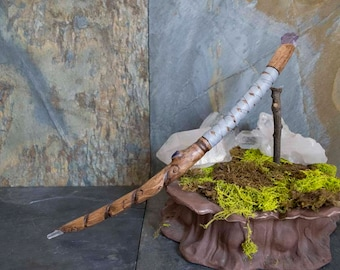 Hand Carved Oak Wand with Amethys x2 and Clear Quartz, Ritual Wand, Witch Wand, Pagan Wand, Altar Tool