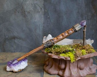 Hand Carved Cedar Wood Wand with Amethyst and  Clear Quartz, Ritual Wand, Altar Tool, Witch Wand, Traditional Wand