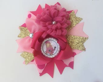"""Shopkins """"Lippy Lips"""" Over The Top Hair Bow"""