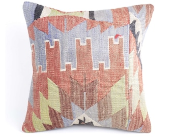 Hand Woven, Turkish KILIM PILLOW COVER 16 x 16, Home decor, Indoor pillow, Wool pillow, Handmade - C10699