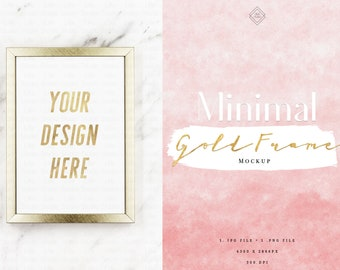 Download Free Digital Gold Frame Mockup - Marble Frame Mock Up Modern Minimal Luxury 5x7 Blank Print Display - Empty Sign Stock Photo Vertical Art Prints PSD Template