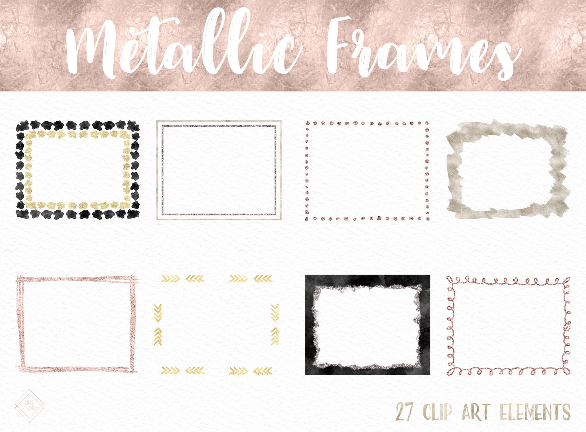 Rose Gold Frame Clipart Foil Glitter Digital Frames Border ...