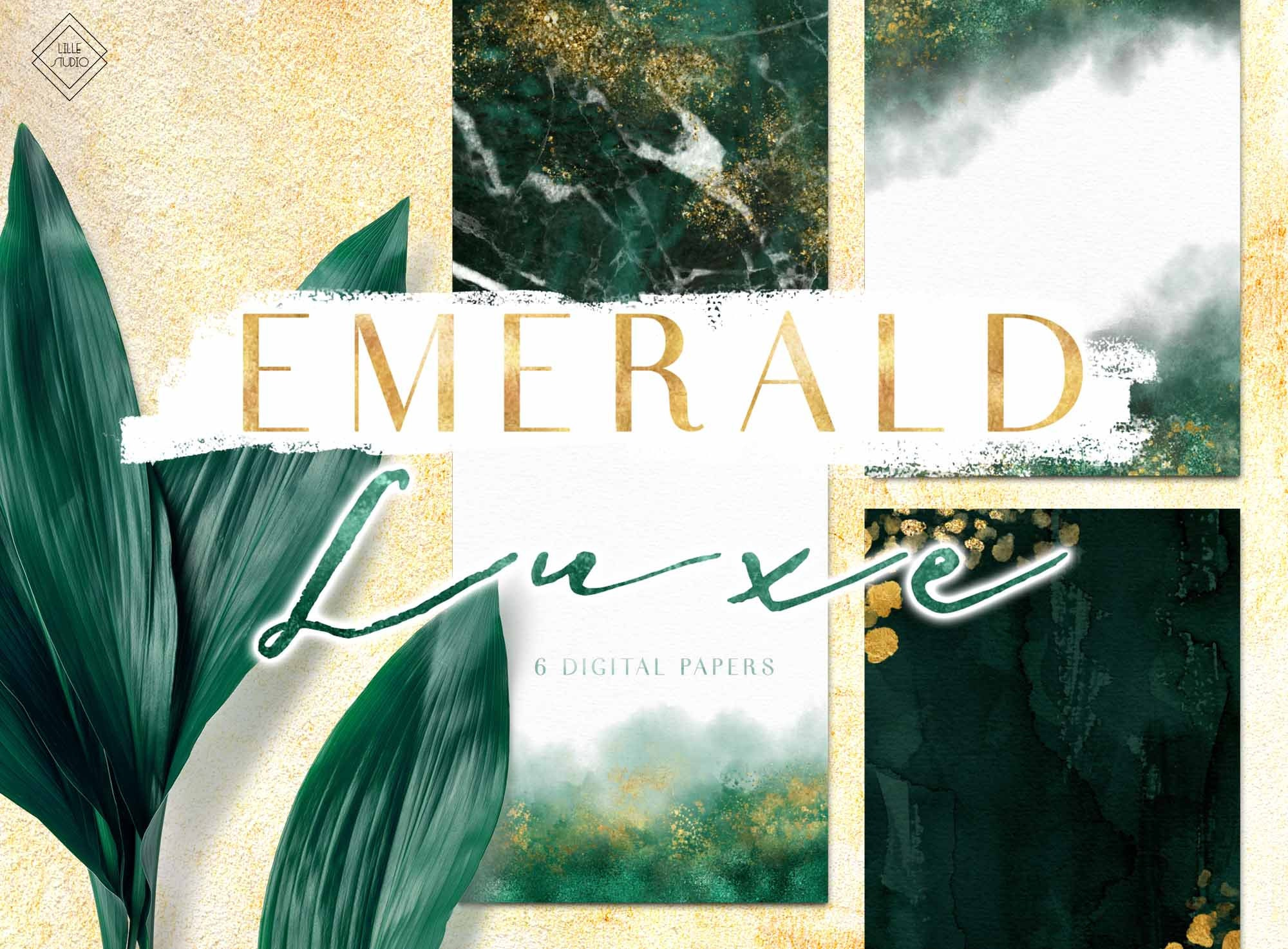 Emerald Green Gold Digital Paper Watercolor Marble Etsy