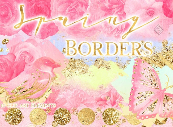 Spring Clipart Borders Flower Border Clip Art Floral Frame Etsy