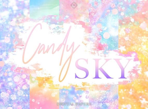 Pastel Rainbow Digital Paper Glitter Unicorn Sky Papers Etsy