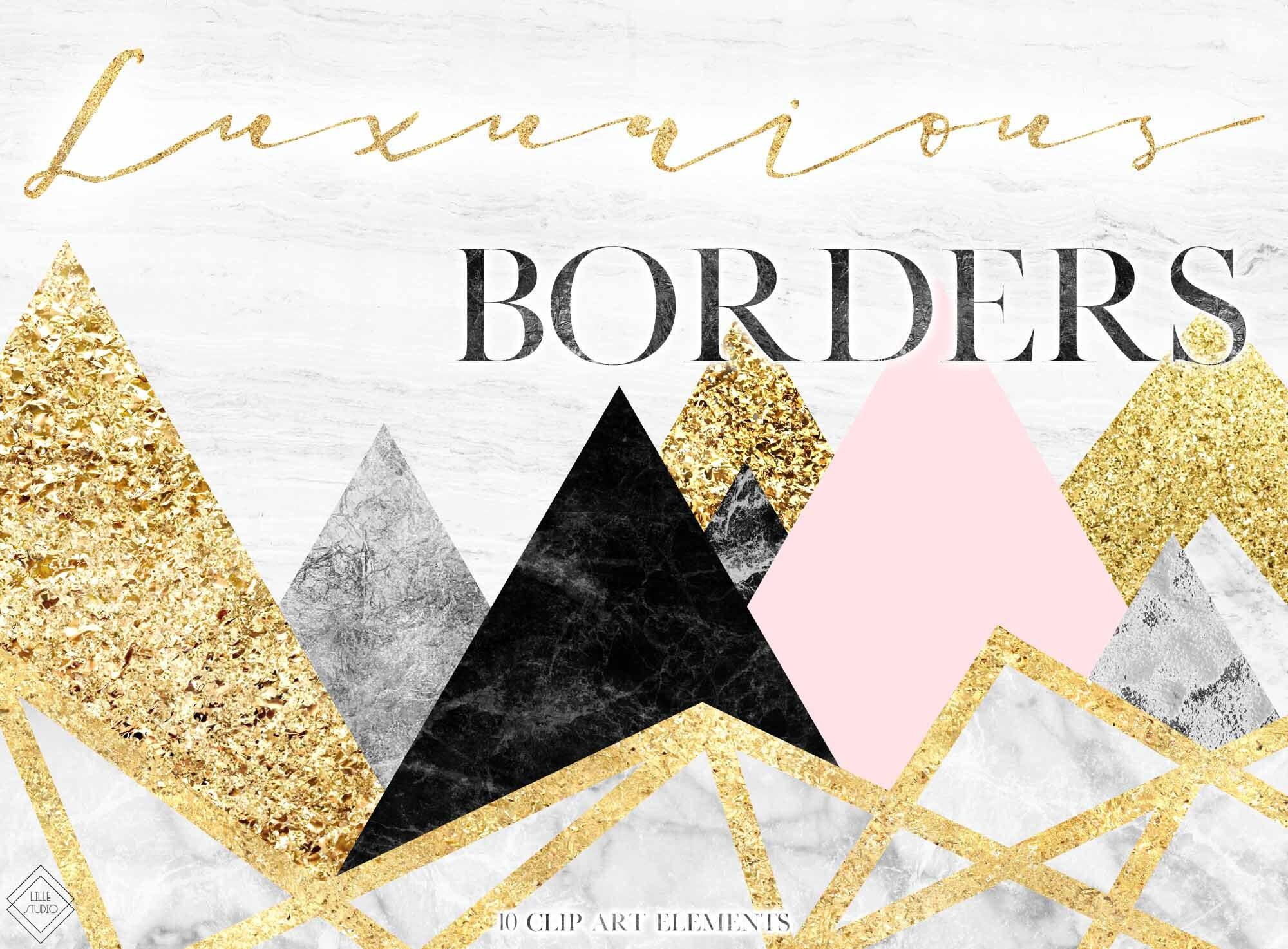 Geometric Clipart Border Marble Clipart Borders Modern Etsy