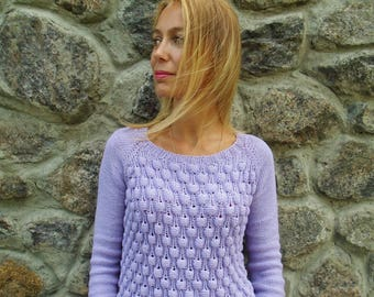 Hand knitted Cotton Sweater, Seamless, Summer Sweater, Cotton Sweater, Hand Knit Sweater, Women's sweater, Knitting clothes