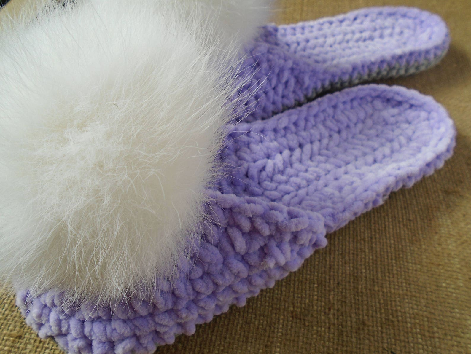 knitting slippers, ready to ship, womens slippers, chunky slippers, ballet flats, fur pom poms, gift for her, home shoes, knit s