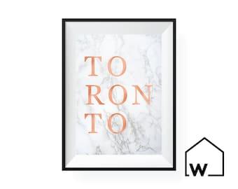 TORONTO   Marble & Rose Gold Foil Digital Print Art   Instant Download