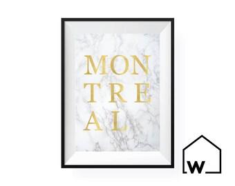 MONTREAL   Marble & Gold Foil Digital Print Art   Instant Download