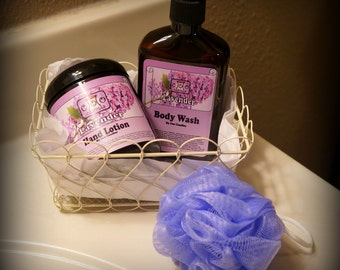 Coo Candles Luxurious Body Lotion and Body Wash Gift Set with Basket and Bath Puff