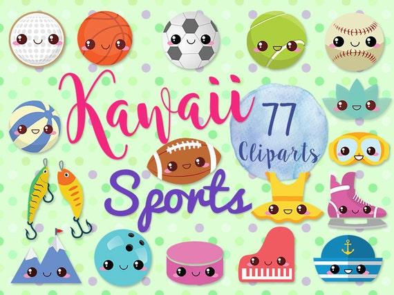 Clipart De Deportes Lindo 77 Juegos Kawaii Etsy