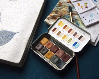Handmade Watercolor Paint -  The Hushwing Collection - 10 Half Pans - Natural Earth/Modern Pigment - Professional Artist Paint - Artist Gift