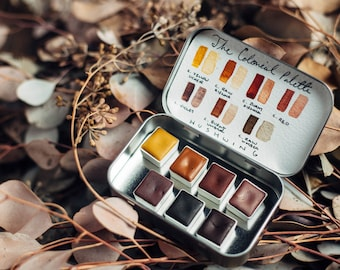 Handmade Watercolor Paint - The Colonial Palette - 7 Half Pans - Natural Earth Pigments - Professional Artist Paints - Gift for Artist