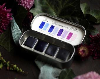 Handmade Watercolor Paint -  The Ultramarine Palette - 4 Half Pans - Modern Pigment - Professional Artist Paint - Artist Gift Watercolors