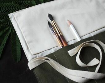 Artist Brush Roll - Italian Linen - Fig Green - Handmade Brush Organizer - Pen Roll - Artist Travel Case - Gift for Artist - Brush Storage