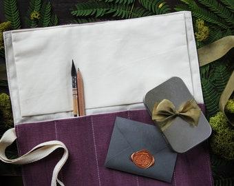 Artist Brush Roll - Italian Linen - Bordeaux - Handmade Brush Organizer - Pen Roll - Artist Travel Case - Gift for Artist - Brush Storage