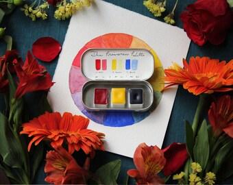 Handmade Watercolor Paint -  The Primaries Palette - 3 Half Pans - Modern Pigment - Professional Artist Paint - Gift for Artist
