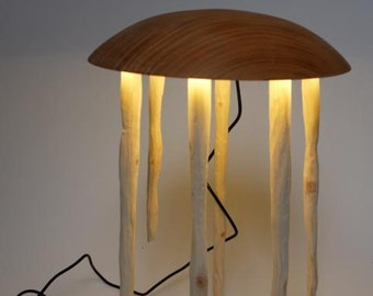 Jelly - the tablelamp made from Cherry and spruce wood