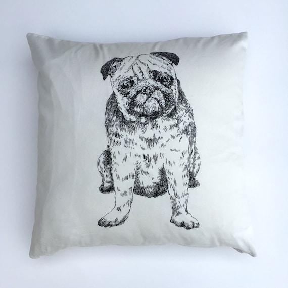 Handmade Pug Print cushion cover