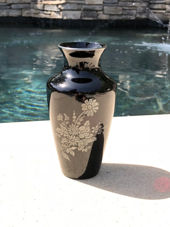Black Amethyst Vase With Silver Floral Detail Etsy