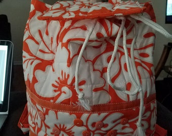 Hawaiian Print Backback--Orange/White with drawstring closure and adjustable straps. Handmade.