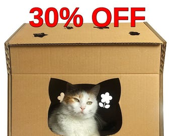 Hello Kitty Cardboard Cat House, Cat Cave, Cat Condo, Cat Furniture, Pet House, Cat Toy