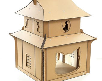 Japanese Samurai Cardboard Cat House