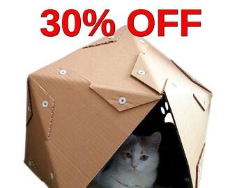 Pentagon Cardboard Cat House, Cat Furniture, Cat Toy, Cat Bed, Cat Cave, Pet House, Cardboard Furniture