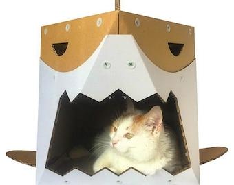Shark Cardboard Cat House,Unique Cat Furniture,Cat Toy,Cat Bed,Cat Cave,Cat Condo,Cat Gift,Items For Cats