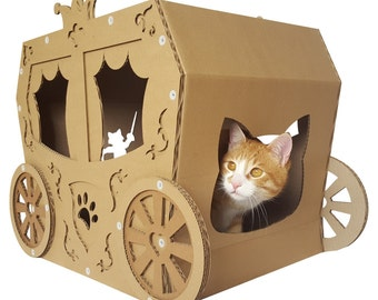 Carriage Cardboard Cat House,Cat Furniture,Cat Bed,Cat Cave,Cat Toy,Pet House,Cardboard Furniture,Cat Condo,Trending Gift,Cardboard Coach