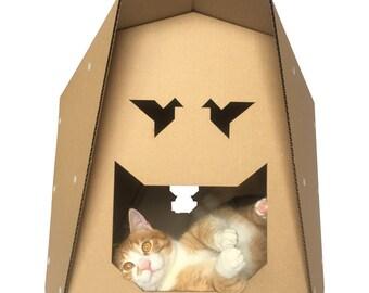 Origami Cardboard Cat House, Cat Toy, Cat Cave, Cat Bed, Cat Furniture, Pet Furniture