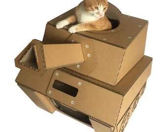 Tank Cardboard Cat House, Cat Bed, Cat Carrier, Cat Condo, Cat Furniture, Cat Toy, Cat Cave