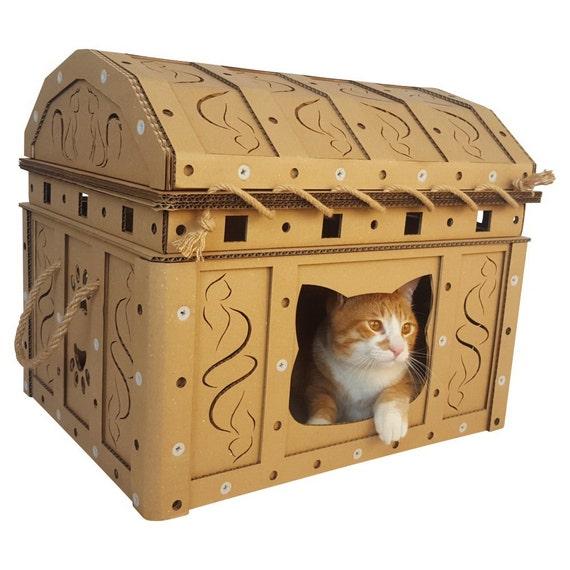 dead man 39 s chest cardboard cat house etsy. Black Bedroom Furniture Sets. Home Design Ideas