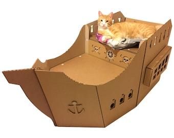 Pirate Ship Cardboard Cat House