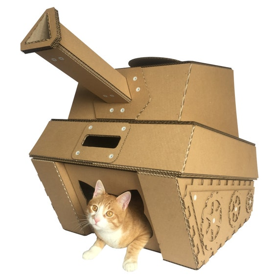 tank cardboard cat house etsy